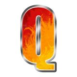 Flames Alphabet letter Q. Set of celebration alphabet letters and numbers Stock Photography