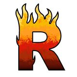 Flames Alphabet Letter R. Set of celebration alphabet letters and numbers Stock Images