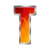 Flames Alphabet Letter T. Set of celebration alphabet letters and numbers Royalty Free Stock Images