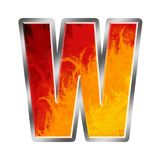 Flames Alphabet Letter W. Set of celebration alphabet letters and numbers Royalty Free Stock Image