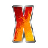 Flames Alphabet Letter X. Set of celebration alphabet letters and numbers Royalty Free Stock Photo