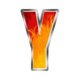 Flames Alphabet Letter Y. Set of celebration alphabet letters and numbers Royalty Free Stock Photo