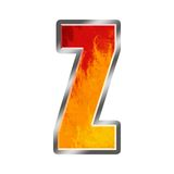 Flames Alphabet Letter Z. Set of celebration alphabet letters and numbers Royalty Free Stock Photo