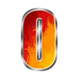 Flames Alphabet number 0 zero. Set of celebration alphabet letters and numbers Royalty Free Stock Photo