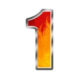 Flames Alphabet number 1 one Royalty Free Stock Images
