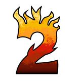 Flames Alphabet number 2 two. Set of celebration alphabet letters and numbers Stock Image