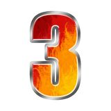 Flames Alphabet number 3 three. Set of celebration alphabet letters and numbers Stock Photo