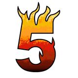 Flames Alphabet number 5 five. Set of celebration alphabet letters and numbers Stock Image