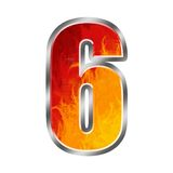 Flames Alphabet number 6 six. Set of celebration alphabet letters and numbers Stock Photos