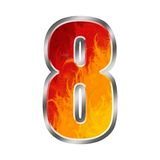 Flames Alphabet number 8 eight Stock Image
