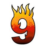 Flames Alphabet number 9 nine Royalty Free Stock Photo