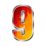 Flames Alphabet number 9 nine. Set of celebration alphabet letters and numbers Stock Images