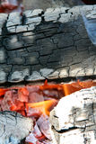 Flames and ashes. Ashes, flames and glowing ember Royalty Free Stock Photography