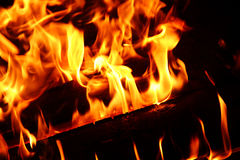 Flames background, fire, camp-fire Stock Photos