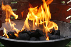 Flames in barbecue Royalty Free Stock Images