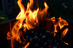 Flames On Barbecue Grill. Bright red flames on burning charcoal on a barbecue grill royalty free stock photo