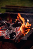 Flames on the Barbecue grill Stock Images