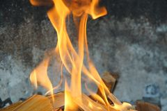 Flames in a barbecue royalty free stock photos