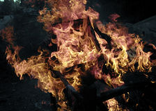 Flames in a basket. Fire and orange flames in a wire basket Royalty Free Stock Photo