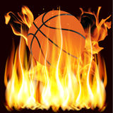 Flames and basketball Royalty Free Stock Photography