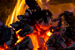 Wood burning on a fire Stock Photo