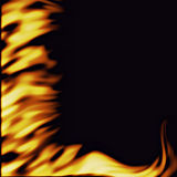 Flames on black. A large illustration of firey flames from the side on a black background Royalty Free Stock Images