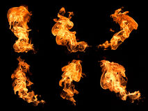 Flames on a black background. Stock Photography