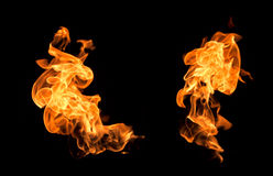 Flames on a black background. Royalty Free Stock Image