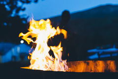 Flames of a bonfire in the night Stock Photography