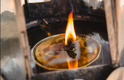 Flames burn in oil burners Stock Photos