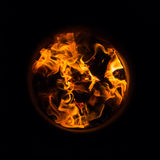 Flames burning in oak barrels for firing its inner side Royalty Free Stock Photos