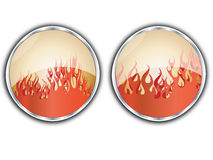 Flames button Stock Photography