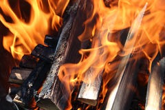 Flames charred and wood Stock Photography