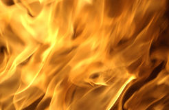 Flames in a chimney Stock Image