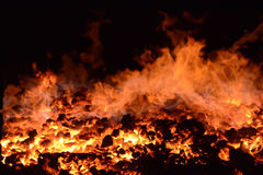 Flames in a coal burning furnace Royalty Free Stock Photography