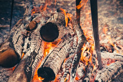Flames and coals of fire. Royalty Free Stock Photo