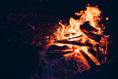 Flames and coals of fire. Stock Photo