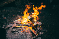 Flames and coals of fire. Stock Photos