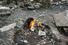 Chimera, the burning rock yanartas, Cirali, Antalya, Turkey royalty free stock image