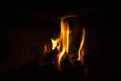 Flames in the dark Royalty Free Stock Photos