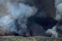 Flames and Dense White Smoke Rising from the Raging Wildfire Stock Photo