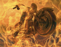 Flames. Digital Illustration of a motorcycle in flames Royalty Free Stock Photos