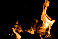 Flames of Fire. In a fireplace stock photos