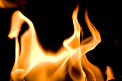 Flames of Fire. In a fireplace stock photo