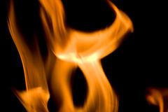 Flames of Fire. In a fireplace stock images
