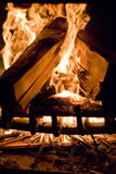 Flames of Fire. In a fireplace stock photography
