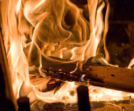 Flames of Fire. In a fireplace royalty free stock images