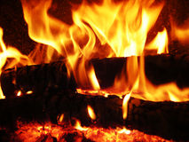 Flames fire. Flames of fire in the fireplace Stock Photos