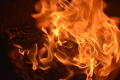 Flames or fire. Bar-b-q behaviour black blazing balefire broil burn campfire close closeup cooking danger dangerous Royalty Free Stock Photography