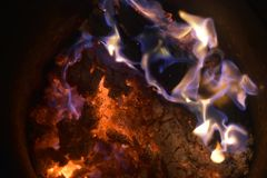 Flames or fire. Bar-b-q behaviour black blazing balefire broil burn campfire close closeup cooking danger dangerous Stock Photography
